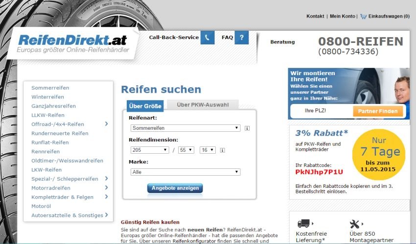 Reifendirekt.at Coupon